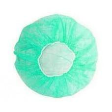 """Bouffant cap , 10 gsm,21"""", green color 100 Pcs/bag"""
